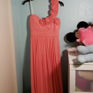 Coral pink one-shoulder floor-length prom dress